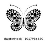 Stock vector dots in shape of butterfly butterfly shape drawn with many black dots dotted object for laser cut 1017986680