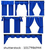 set of blue luxury curtains and ... | Shutterstock .eps vector #1017986944