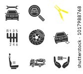 auto workshop glyph icons set.... | Shutterstock .eps vector #1017988768