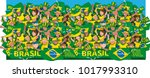 soccer fans cheering | Shutterstock .eps vector #1017993310