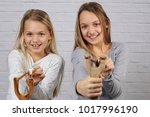 portrait of two smiling... | Shutterstock . vector #1017996190