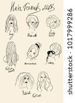 hair styles trends outline... | Shutterstock .eps vector #1017999286