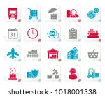 stylized cargo  shipping and... | Shutterstock .eps vector #1018001338