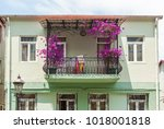 the balcony is decorated with... | Shutterstock . vector #1018001818