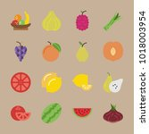icons fruits and vegetables... | Shutterstock .eps vector #1018003954