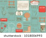 fast food   pizza  hot dog ... | Shutterstock .eps vector #1018006993