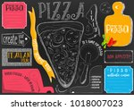 pizzeria placemat   paper... | Shutterstock .eps vector #1018007023