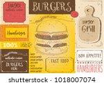 hamburgers placemat   paper... | Shutterstock .eps vector #1018007074