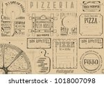 pizzeria placemat   paper... | Shutterstock .eps vector #1018007098