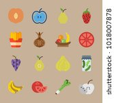 icons fruits and vegetables... | Shutterstock .eps vector #1018007878