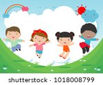 kids jumping on the playground  ... | Shutterstock .eps vector #1018008799
