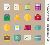 icons banking with files  case  ... | Shutterstock .eps vector #1018009978