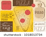 pizzeria placemat   paper... | Shutterstock .eps vector #1018013734