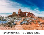turret arch in arches national... | Shutterstock . vector #1018014283