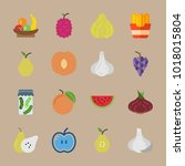 icons fruits and vegetables... | Shutterstock .eps vector #1018015804