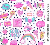 vector fashion fun patches...   Shutterstock .eps vector #1018017718