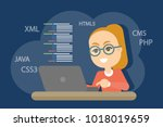 woman programmer working with... | Shutterstock .eps vector #1018019659