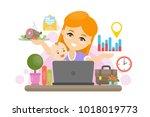 isolated multitasking mother... | Shutterstock .eps vector #1018019773