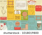 fast food   pizza  hot dog ... | Shutterstock .eps vector #1018019800