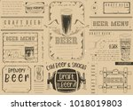 beer drawn menu design. craft... | Shutterstock .eps vector #1018019803