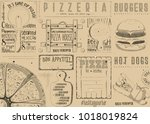 placemat for pizzeria and fast... | Shutterstock .eps vector #1018019824