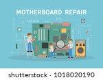 motherboard repair service... | Shutterstock .eps vector #1018020190