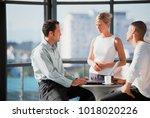 business people talking in... | Shutterstock . vector #1018020226