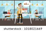 businessman ordering food from... | Shutterstock .eps vector #1018021669