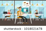 hungry businessman at office... | Shutterstock .eps vector #1018021678