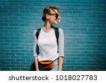 young positive tourist woman... | Shutterstock . vector #1018027783