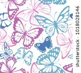 seamless pattern with pink ... | Shutterstock .eps vector #1018028146