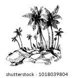 tropical island with palm trees.... | Shutterstock .eps vector #1018039804