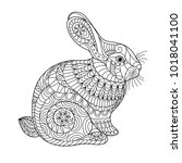 Stock vector easter rabbit coloring page for adult and children creative cute bunny black and white vector 1018041100