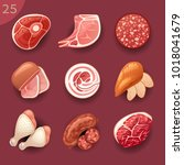 food ingredients. meat | Shutterstock .eps vector #1018041679