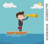 businessman looks through a...   Shutterstock .eps vector #1018042759