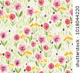 seamless watercolor floral... | Shutterstock . vector #1018044220