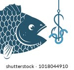 illustration of big blue fish... | Shutterstock .eps vector #1018044910
