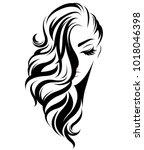 illustration of women long hair ... | Shutterstock .eps vector #1018046398