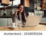 business woman talking on...   Shutterstock . vector #1018050106