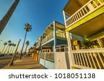 wooden houses in newport beach... | Shutterstock . vector #1018051138