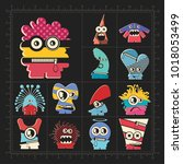 cute colorful monsters on black.... | Shutterstock .eps vector #1018053499