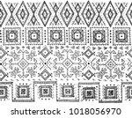 tribal black and white seamless ... | Shutterstock .eps vector #1018056970