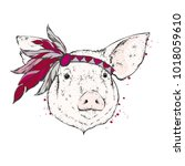 pig in an indian feather... | Shutterstock .eps vector #1018059610