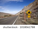 steep downhill with 7 percent... | Shutterstock . vector #1018061788