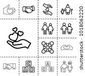 together icons. set of 13... | Shutterstock .eps vector #1018062220