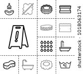 wet icons. set of 13 editable... | Shutterstock .eps vector #1018063174