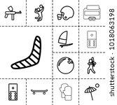 recreation icons. set of 13... | Shutterstock .eps vector #1018063198