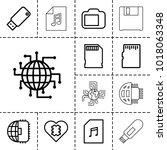 memory icons. set of 13... | Shutterstock .eps vector #1018063348