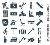 work icons. set of 25 editable... | Shutterstock .eps vector #1018068874