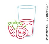 strawberry and juice design | Shutterstock .eps vector #1018069114
